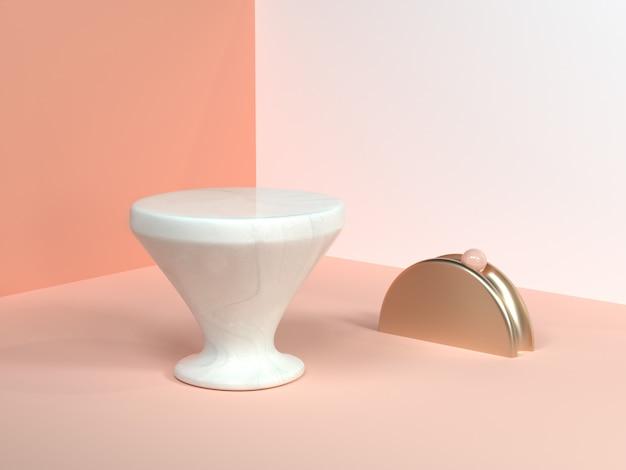 Крем минимальный сцена стена угол аннотация геометрическая форма белый мрамор конус форма золото полукруг 3d рендер