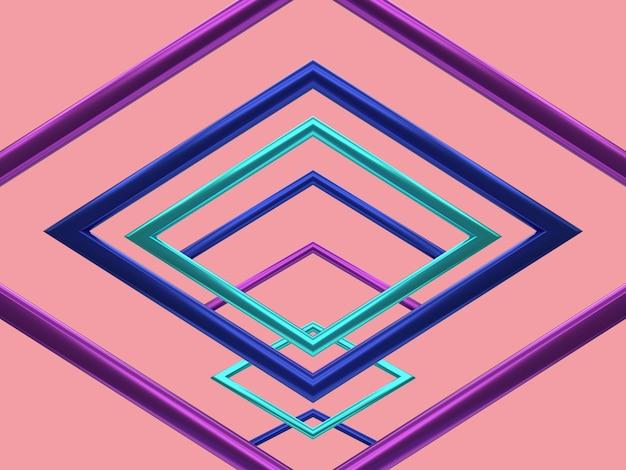 Фиолетовый синий зеленый металлик отражение геометрическая форма левитация 3d визуализация