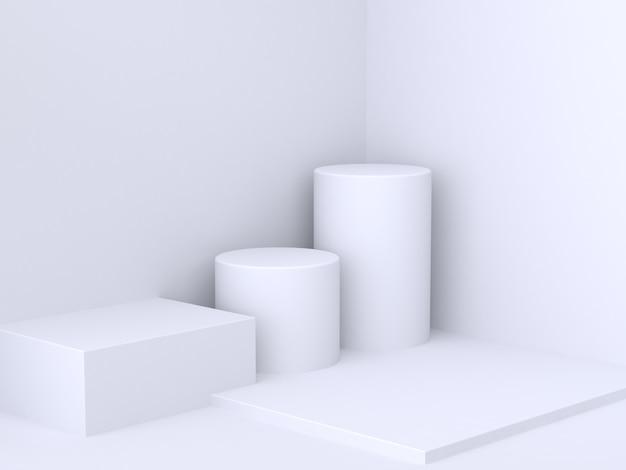 Квадратный цилиндр белая стена угол минимальный абстрактный фон 3d рендеринг