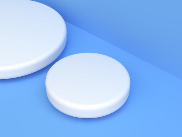 Синий белый сцена 3d рендеринг пустой подиум абстрактный современный фон