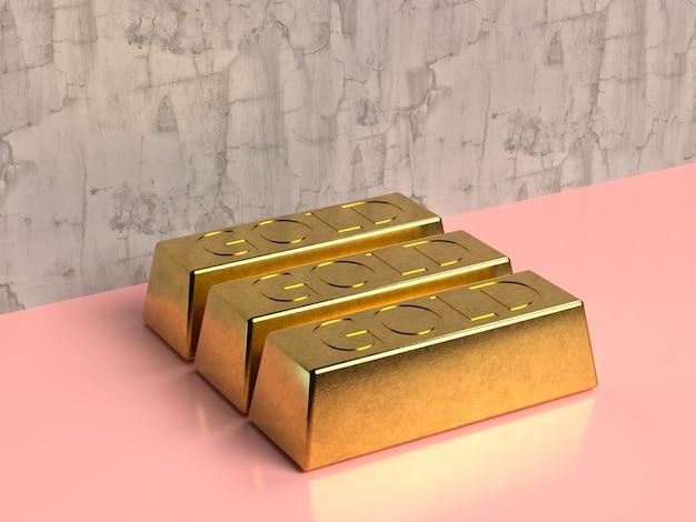 Золотой слиток квадрат золотой блестящий 3d рендеринг розовый фон