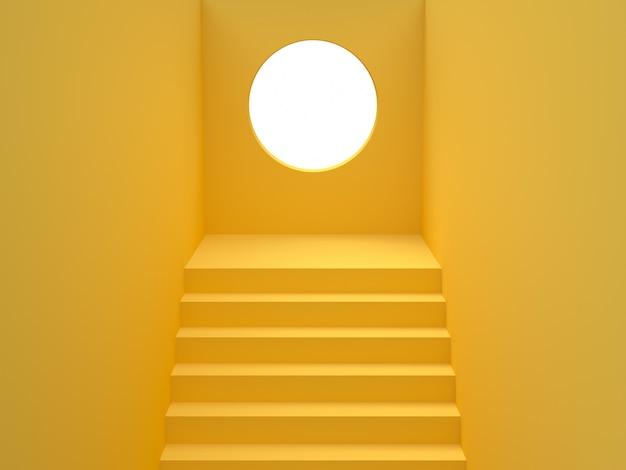 Желтая лестница круг дыра стена 3d рендеринга