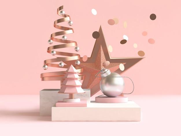 Абстрактная геометрическая форма рождественская концепция украшения 3d рендеринг