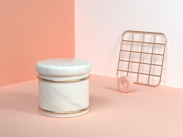 ピンク/オレンジ/クリームミニマルシーンウォールコーナー抽象的な幾何学的形状ホワイト大理石シリンダーゴールドスクエアネット3dレンダリング