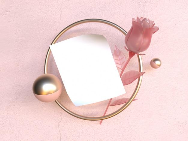 Пустая белая бумага золотая рамка розовая роза валентина концепция 3d рендеринг