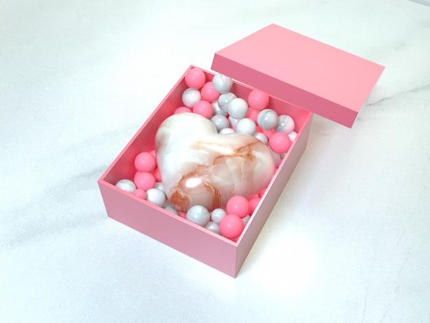 3d-рендеринг подарочная коробка открытый мрамор в форме сердца глянцевый розовый шар любовь сюрприз валентина концепция подарка