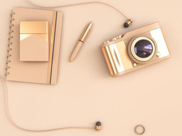 ゴールドカメラペンノートトップビュー3dレンダリング