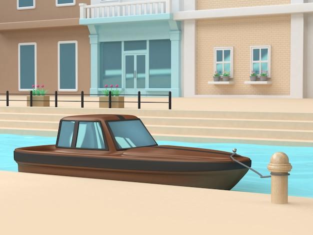 3d коричневая чёрная лодка порт канал река голубая вода стены окна дом мегаполис мультяшный стиль