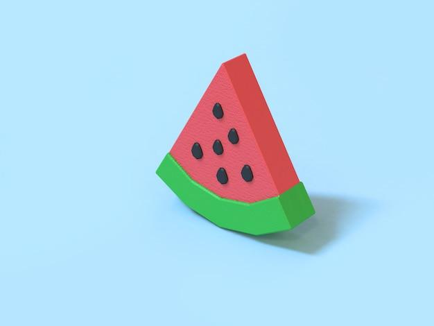 Мультяшный стиль низкополигональная арбуз красный зеленый 3d рендеринг синий