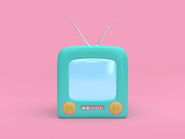 Мультфильм зеленый старый телевизор минимальный розовый технология 3d рендеринг