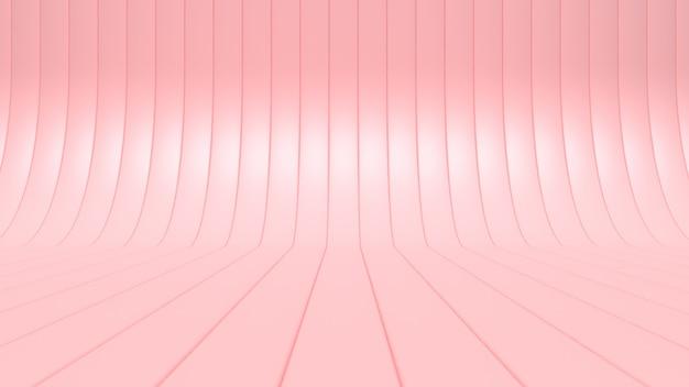 Пустой розовый кривая-студия минимальный абстрактный 3d визуализации