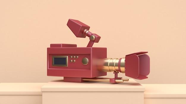 レッドゴールドカメラの写真のコンセプト3dレンダリング