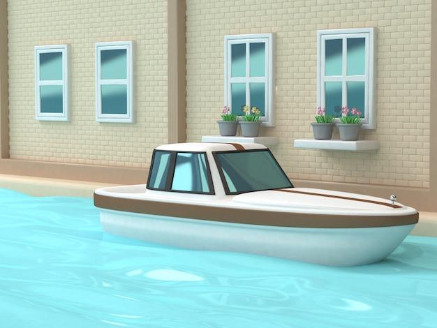 3d белая коричневая лодка канал река голубая вода стены окна дом город город стиль мультяшный