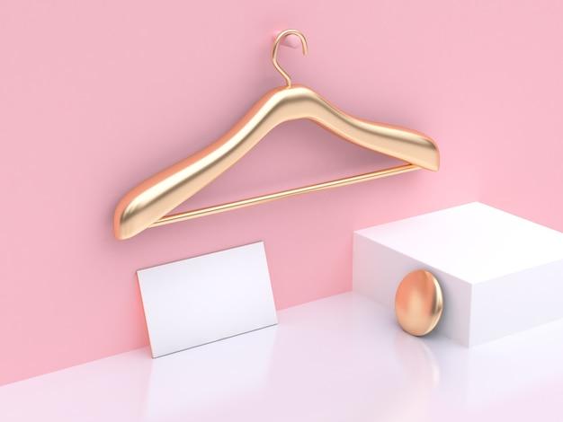 金のハンガーファッションコンセプト空の名刺モックアップ抽象的なシーンピンクの白い3d
