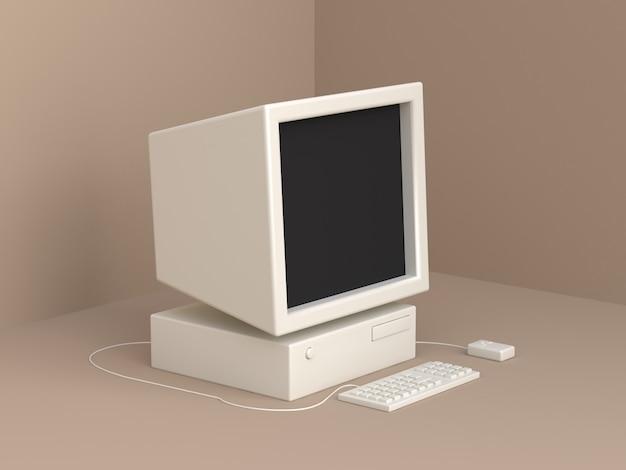 Белый старый компьютерный мультяшный стиль мягкий коричневый минимальный 3d рендеринг
