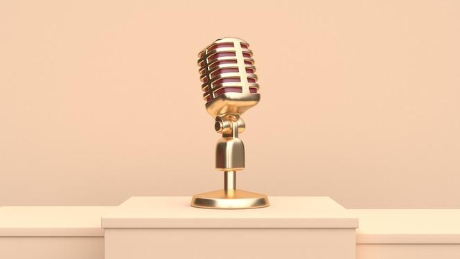 Золотой микрофон 3d визуализации