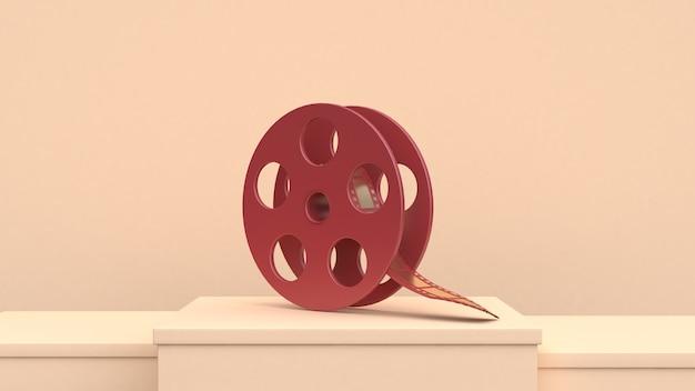レッドゴールドフィルムロールクリームシーン3dレンダリング映画映画館のコンセプト