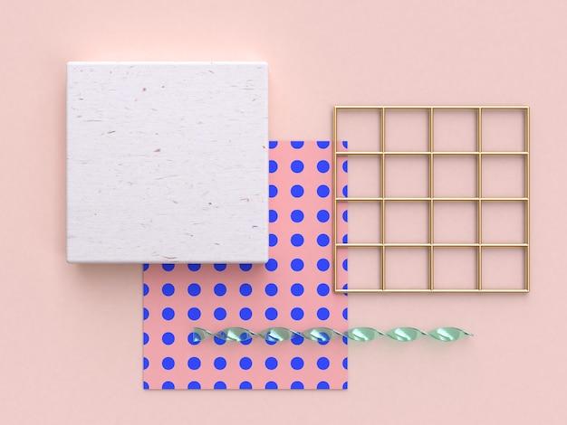 抽象的な平らな背景ピンクゴールドウッド3dレンダリング