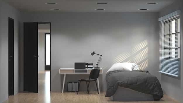 ベッドルームには、作業机の3dイラストと日光のコンセプト、きれいでモダンなアパートメントがあります。
