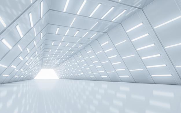 イルミネーションされた廊下のインテリアデザイン。 3dレンダリング。