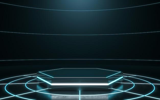 未来的なディスプレイ台座。空の表彰台。 3dレンダリング