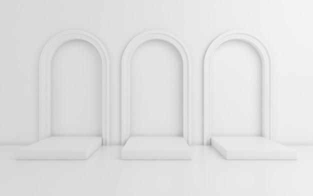 Сцена с минимальным фоном, арка с подиума, 3d визуализации