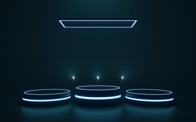 Футуристический пьедестал для показа пустой подиум для товара. 3d-рендеринг