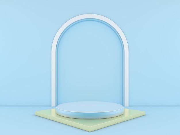 製品の青色の背景に最小限の青い表彰台。 3dレンダリング