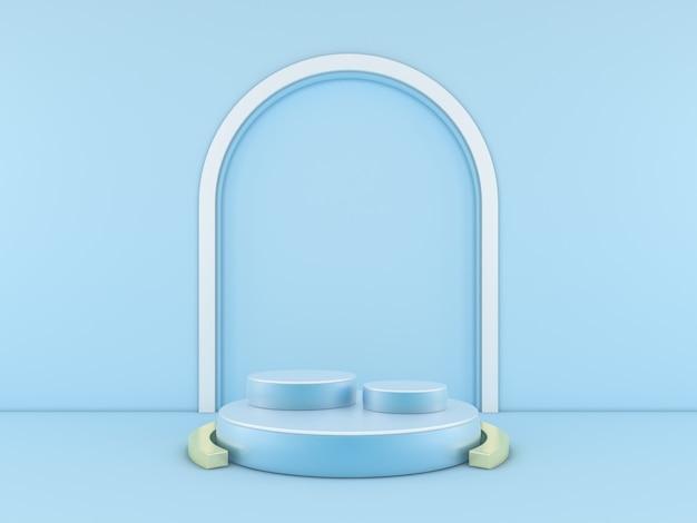 Минимальный синий подиум на фоне синего цвета для продукта. 3d-рендеринг