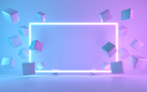 Неоновая рамка знак с кубом. 3d-рендеринг