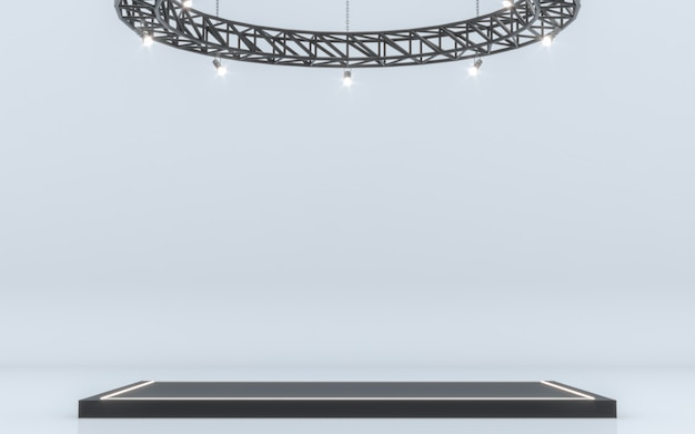 スポットライト背景とステージ付きランプ。 3dレンダリング