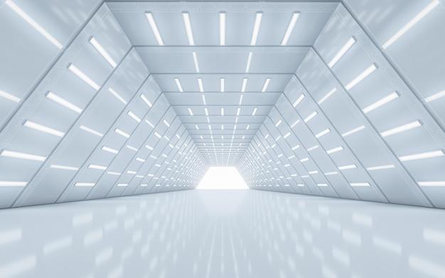 Освещенный интерьер коридора. 3d-рендеринг.