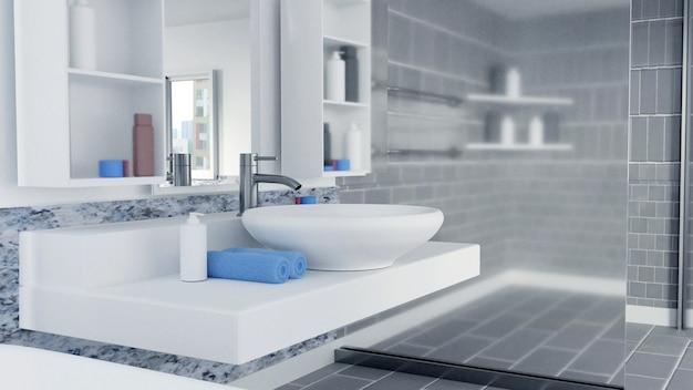 3d визуализированный дизайн интерьера ванной комнаты с синими полотенцами