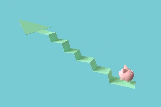 ピンクの貯金箱は、上矢印にジャンプします。最小限のアイデアビジネスコンセプト。 3dレンダリング。