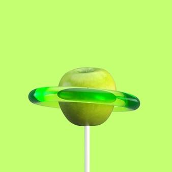グリーンアップルフルーツキャンディ。最小限のフルーツのアイデア。 3dレンダリング。