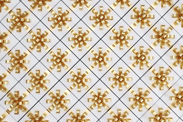 トップビューにゴールドリボンと白いギフトボックス。 3dレンダリング。クリスマスのアイデアコンセプト。
