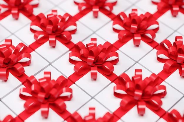 赤いリボンと白いギフトボックスを閉じます。 3dレンダリング。クリスマスのアイデアコンセプト。セレクティブフォーカス。