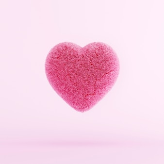 赤い毛皮の心が浮かんでいます。最小限のバレンタインコンセプト。 3dレンダリング
