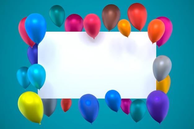 色とりどりの膨らませて気球を使った白いカードの3dレンダリング