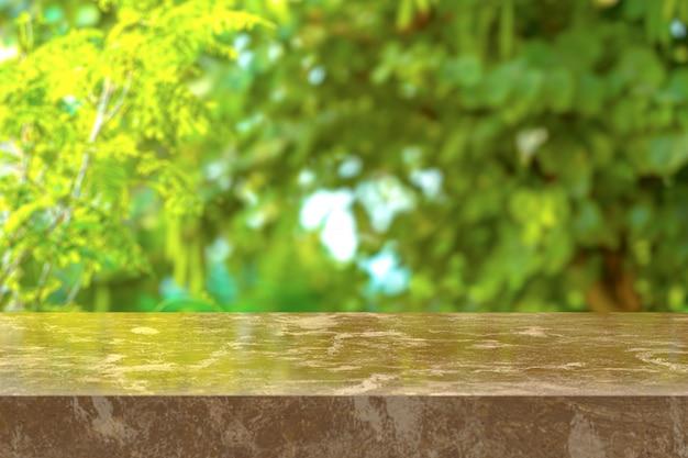 3dレンダリング、自然の背景を表示する茶色の大理石のテーブル。ディスプレイ製品に使用できます。