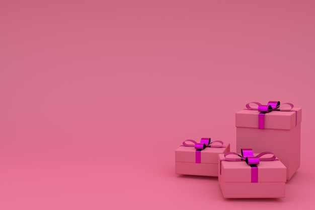 Перевод 3d реалистической розовой подарочной коробки с смычком ленты на пинке. пустое пространство для вечеринок, рекламных баннеров в социальных сетях, плакатов, дня рождения, нового года или рождества