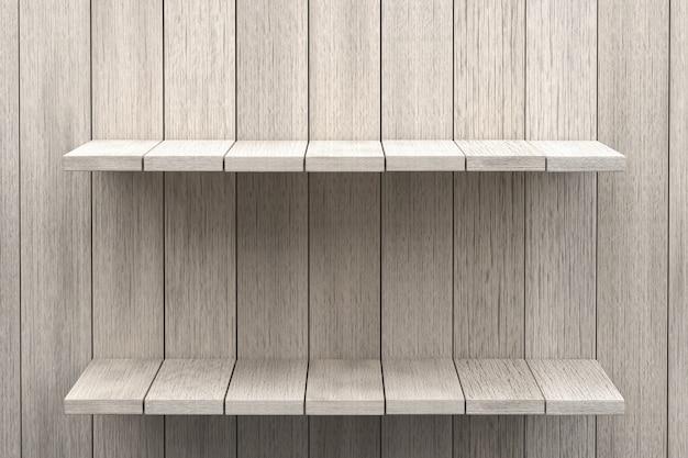 3d-рендеринг, белая полка деревянный стол фон для отображения продукта