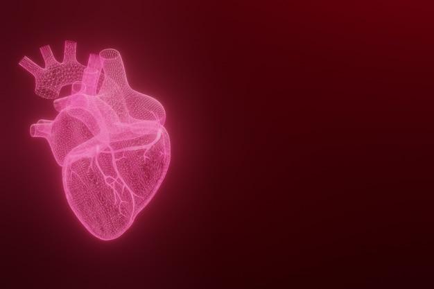 3d каркасные сердца делают изолированные