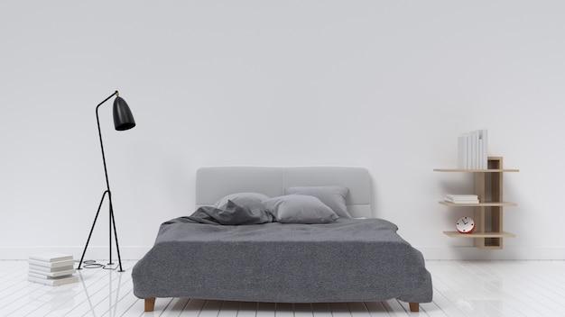 モダンなベッドルームデザインのランプとキャビネット、3dレンダリング
