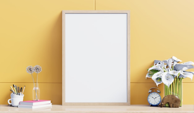Внутренний плакат макет с кабинетом в гостиной на желтой стене. 3d рендеринг