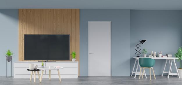 Внутри дома, который имеет телевизор на шкафу в современной комнате есть лампа, цветок, книга и рабочее место, 3d-рендеринг