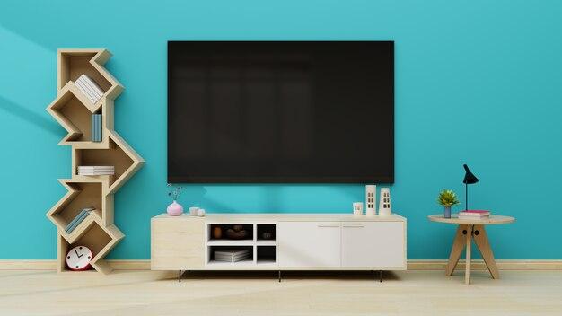 現代の空の部屋の青い壁のテレビ。 3dレンダリング