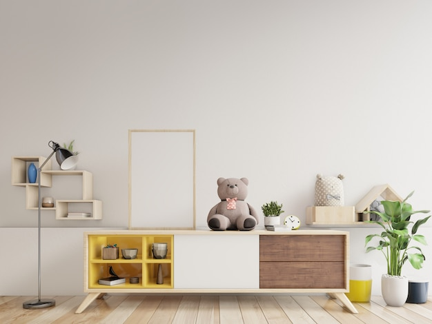 Плакаты в интерьере детской комнаты, 3d рендеринг