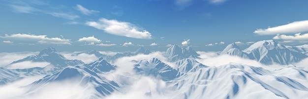 Панорама пейзажа снежной горы с голубым небом. 3d