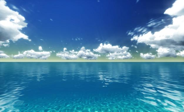 青い海。 3dレンダリング